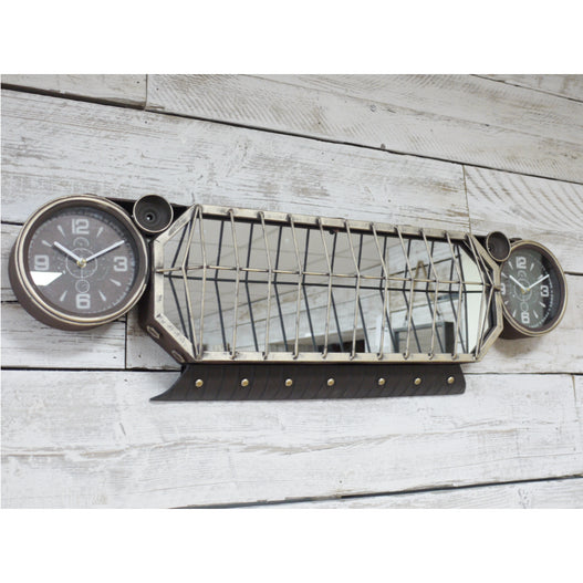 Retro Industrial Car Headlight Mirror and Clock Large Wall Decoration