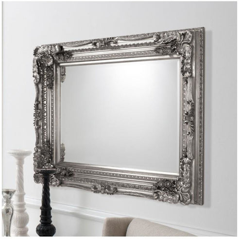 Silver French Baroque Large Wall Mirror (120 x 89.5cm)