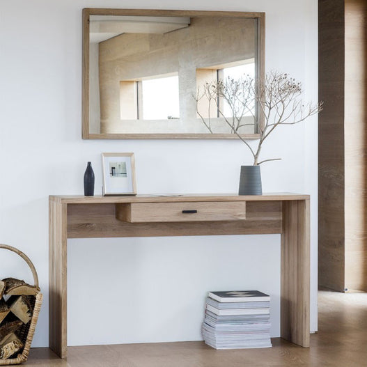 Kielder Nordic-Style Oak Console Table with Drawer (130 x 39 x 80cm)