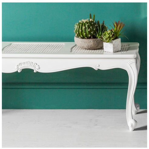 White 'Chic Chalk' French Style Mahogany Long Bench (137 x 36.5 x 47cm)