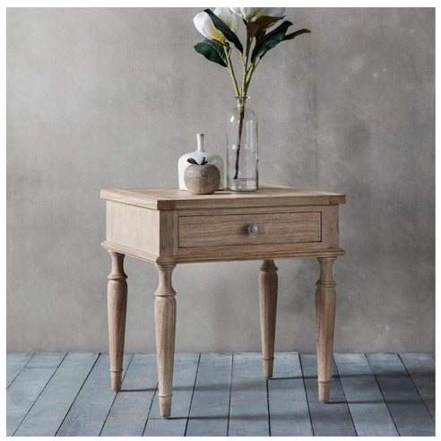 Mustique Mindy Wood Side Table with Drawer (53 x 45 x 56cm)