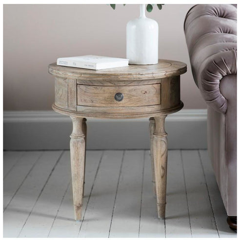 Mustique Mindy Wood Round Side Table with Drawer (53 x 53 x 56cm)