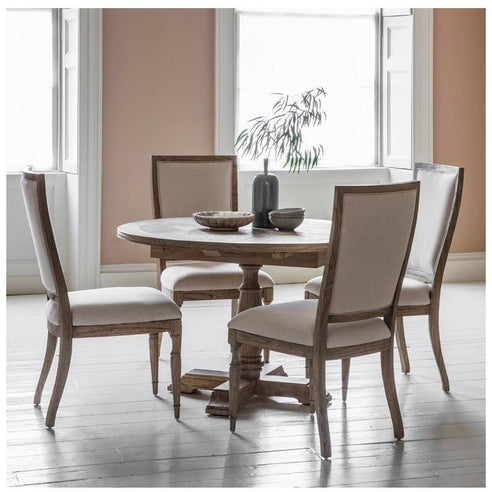 Mustique Mindy Wood Round Extending Dining Table and 4 Chair Set (Cream Linen Seat)