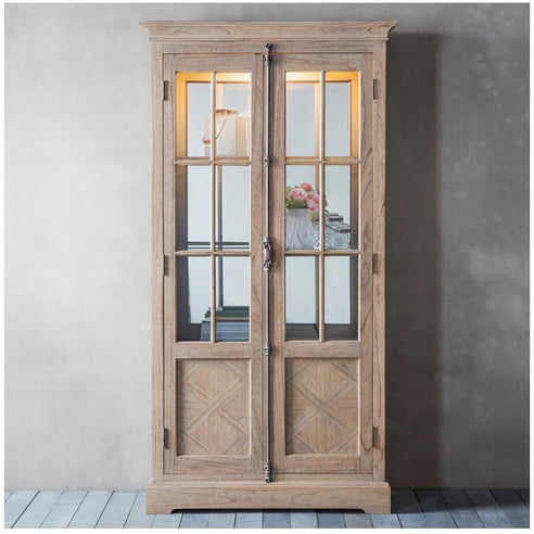 Mustique Mindy Wood 2 Door Half Glazed Display Cabinet (Mirrored Back 95 x 39.5 x 185.5cm)
