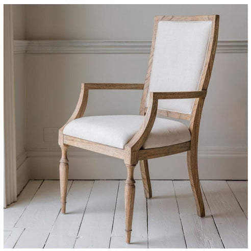Mustique Mindy Wood Armchair Upholstered in Cream Linen (58.5 x 56 x 102cm)