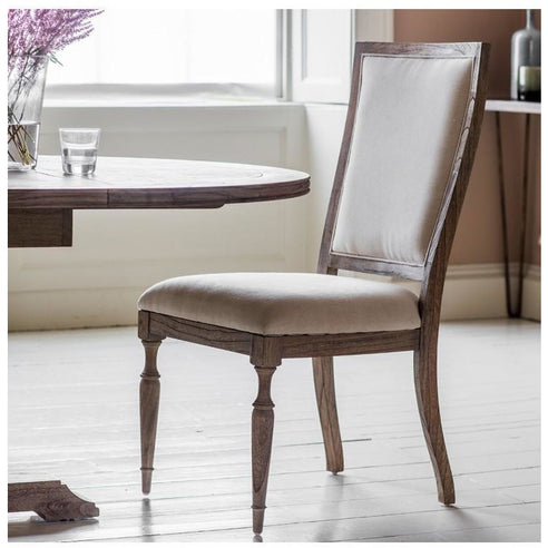 Mustique Mindy Wood Side Chair Upholstered in Cream Linen (51 x 56 x 102cm)
