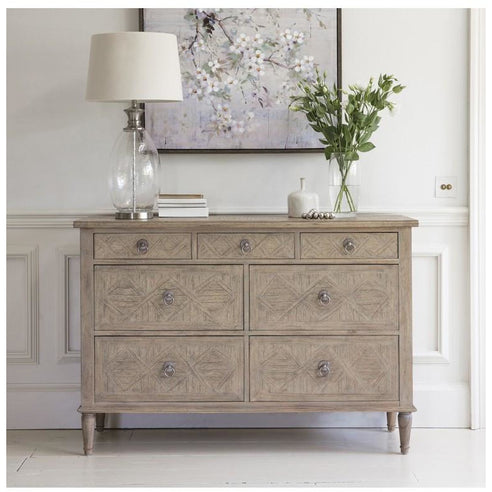 Mustique Mindy Wood Wide Chest of Drawers (7 Drawers, 130 x 45 x 885cm)