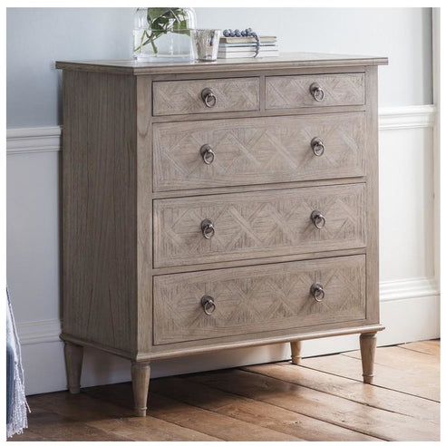 Mustique Mindy Wood Chest of Drawers (5 Drawers, 90 x 45 x 102cm)