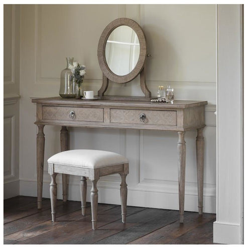 Mustique Mindy Wood Dressing Table, Mirror and Stool (Cream Linen Seat) Set