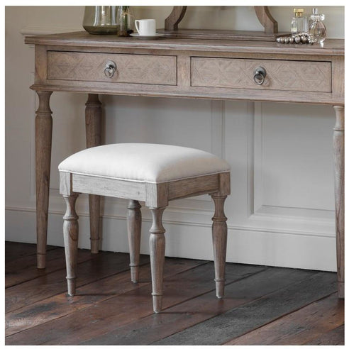 Mustique Mindy Wood Dressing Table Stool, Cream Linen Seat (44 x 34 x 45cm)