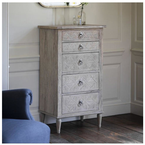 Mustique Mindy Wood 5 Drawer Tallboy Dresser (60 x 45 x 115cm)