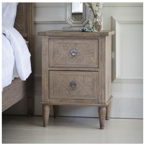 Mustique Mindy Wood Bedside Table (2 Drawers, 50 x 40 x 66.5cm)