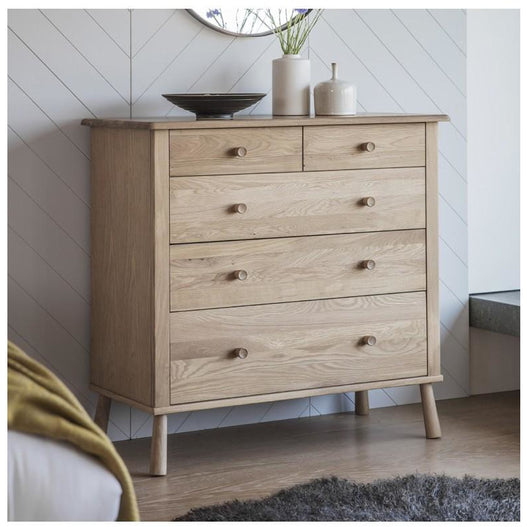 Wycombe Oak Chest of Draws (5 Drawers, 98 x 45 x 95.5cm)
