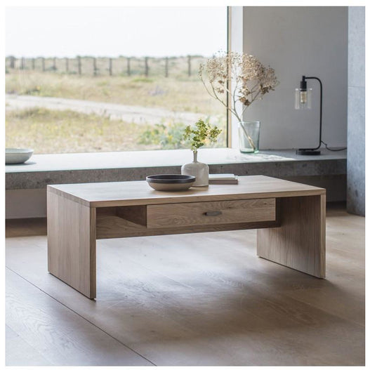 Kielder Nordic-Style Oak Storage Coffee Table (110 x 65 x 40cm)