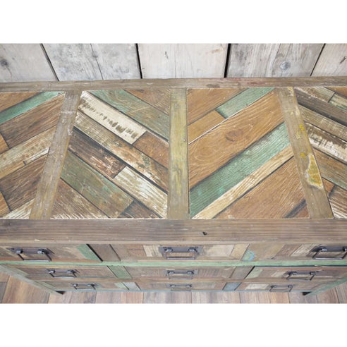 Loft style wooden wide chest of drawers - Beach House