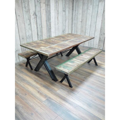 Loft style wooden large dining table and bench set - Beach House
