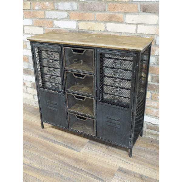 Brixton Metal And Wood Industrial Cabinet 93 X 34 X 88cm