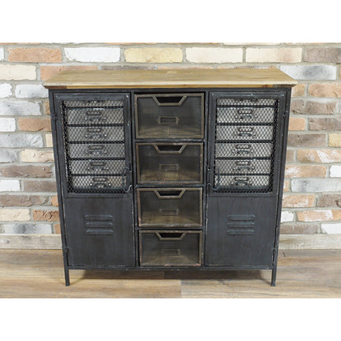 Brixton Metal and Wood Industrial Cabinet (93 x 34 x 88cm)