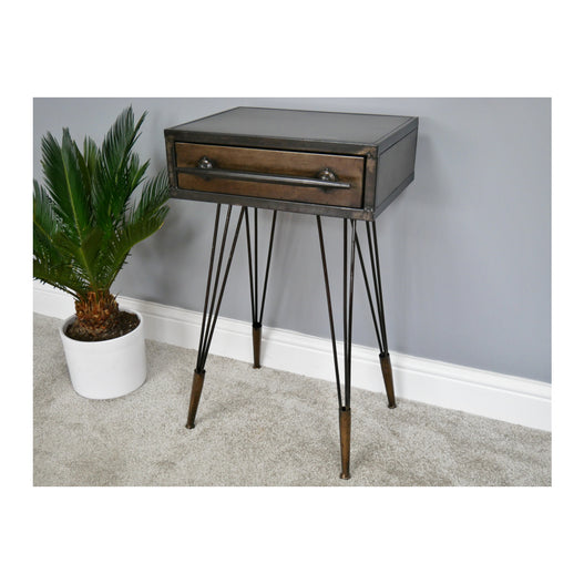 Hoxton Industrial Vintage Distressed Metal Side Table (41 x 34 x 69cm)