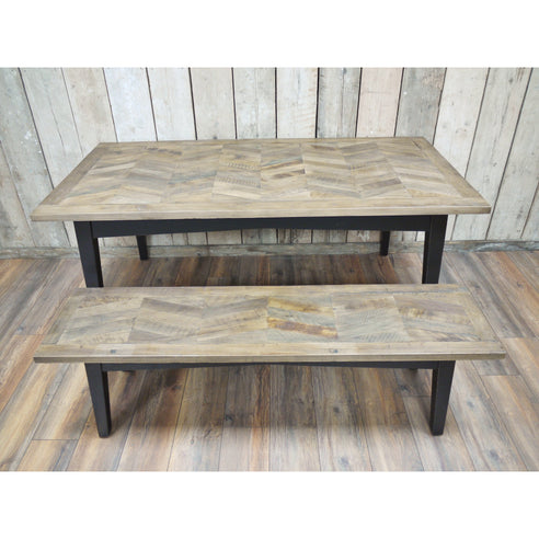 Herringbone Recycled Birch Wood Dining Table and 2 bench set (180 x 90 x 76cm)