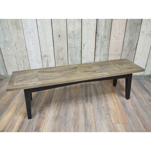 Herringbone Recycled Birch Wood Bench (160 x 40 x 46cm)