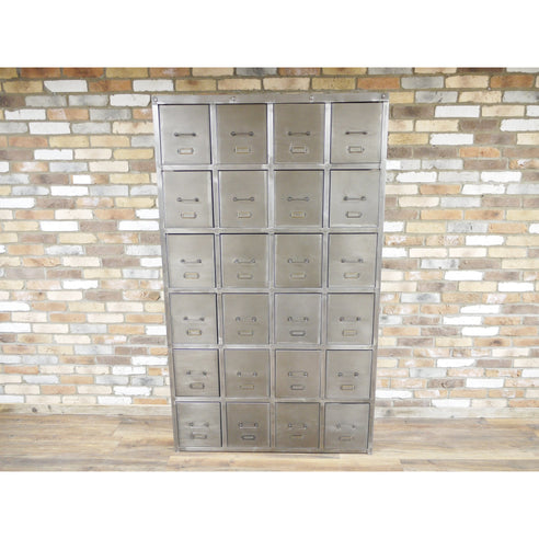 Hoxton Metal Industrial Distressed Large 24 Drawer Cabinet (121 x 44 x 206cm)