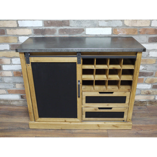 Dalston Industrial Warehouse Metal Drinks Sideboard with Blackboard (101 x 40 x 82cm)