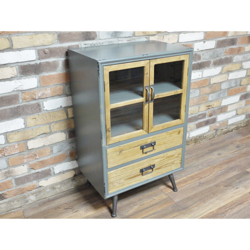 Camden Retro Industrial 50's Style Wood Metal Sideboard (60 x 40 x 96cm)