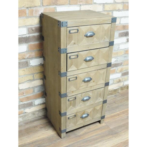 Chelsea Industrial Warehouse Wood Tallboy Chest (49 x 40 x 109cm)