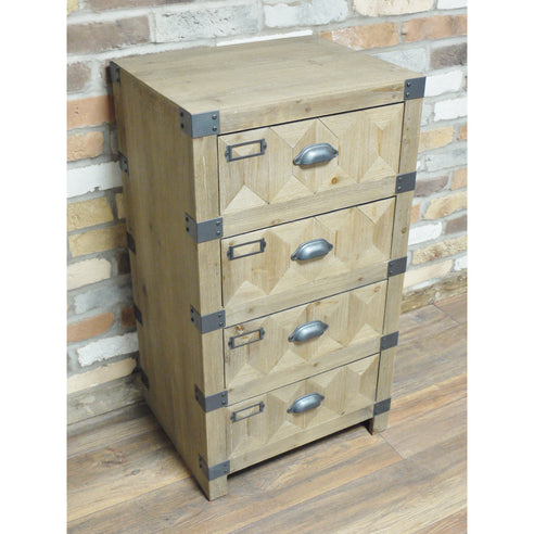 Chelsea Industrial Warehouse Wood Tall Chest (49 x 40 x 89cm)
