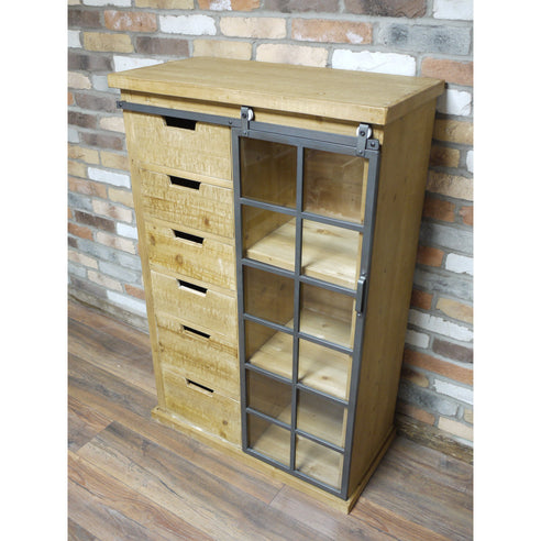 Dalston Industrial Warehouse Chest Cabinet (80 x 40 x 122cm)