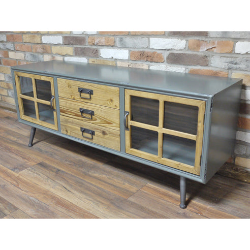 Camden Retro Industrial 50's Style Wood Metal Low Sideboard (140 x 40 x 56cm)