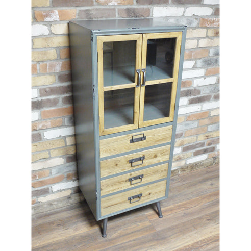 Camden Retro Industrial 50's Style Wood Metal Display Unit (55 x 40 x 136cm)