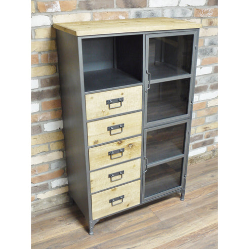 Dalston Industrial Warehouse Metal Mid Height Cabinet (80 x 40 x 130cm)