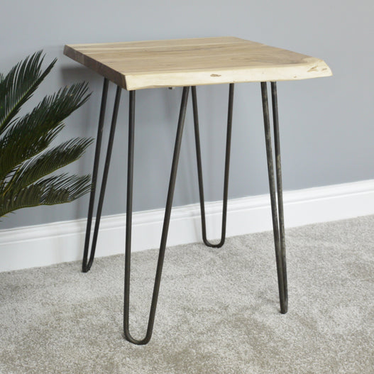 Hoxton Living Edge Acacia Hair Pin Leg Side Table (46 x 55 x 59cm)