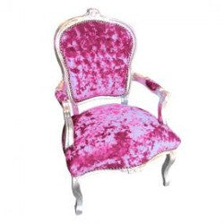 Fuchsia Pink Diamante Crushed Velvet French 'Louis Style' Armchair with Silver Gilt Frame