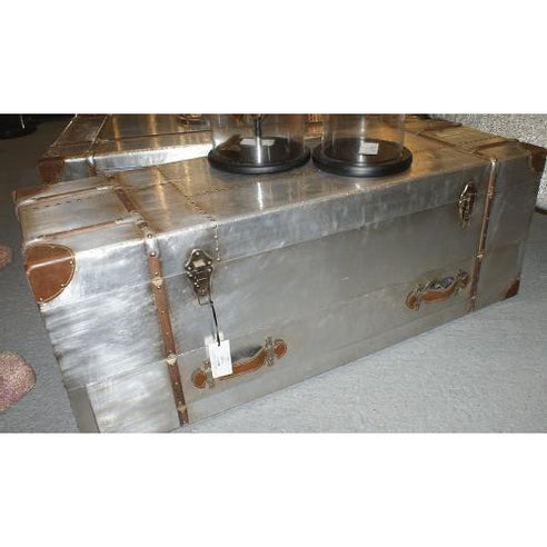 Silver industrial aluminium trunk coffee table