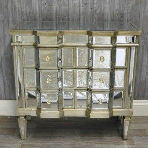 Venetian mirrored silver gilded chest of drawers