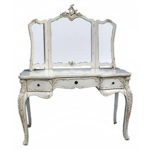 Vintage antique white dressing table and mirror set