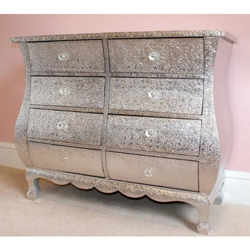 Silver Embossed Metal Chest Of 8 Drawers