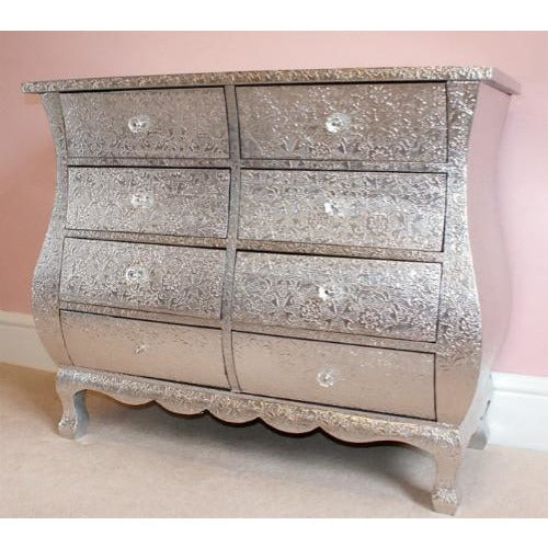 Silver Embossed Chest Of Drawers 8 Drawers 85 X 38 X 70cm