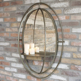Retro Industrial Metal Mirror with Shelf (70 x 24 x 99cm)