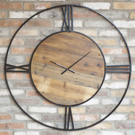 Hoxton Industrial Feature Large Metal and Wood Clock (110 x 3 x 110cm)