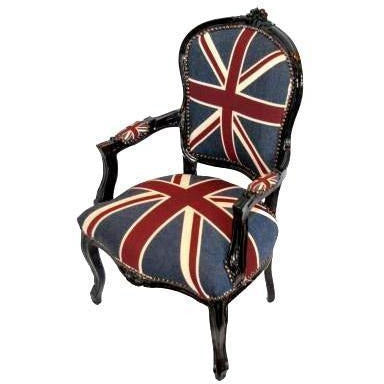 Union jack black frame french arm chair