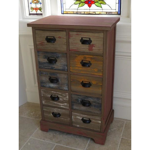 Loft style wooden 10 drawer chest - Brighton
