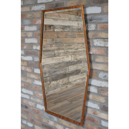 Copper Finish Distressed Art Deco Patinated Wall Mirror (71 x 119cm)
