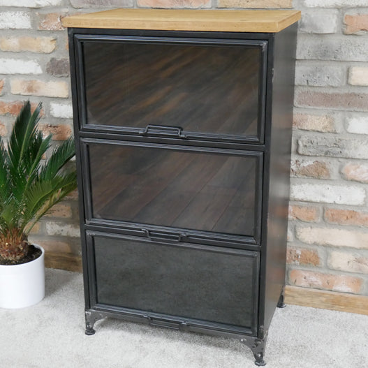 Brixton Metal and Wood Industrial Cabinet (58 x 40 x 98cm)