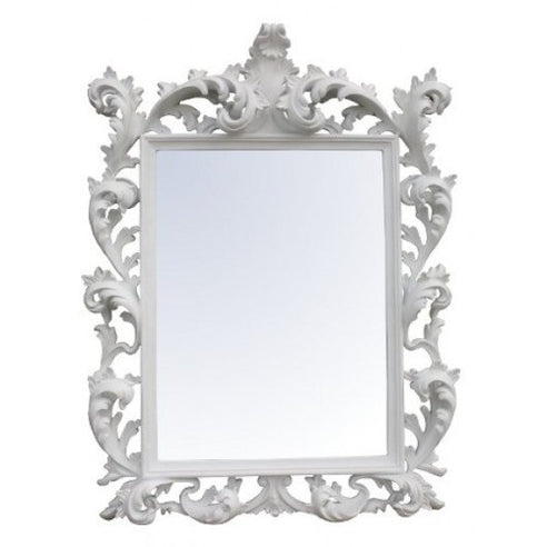 Gloss white rectangular baroque mirror
