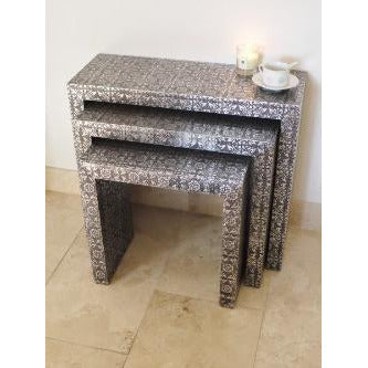 Blackened Silver Embossed Nest of Side Tables (Set of 3)