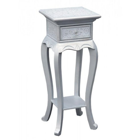 Frosted silver embossed metal small table